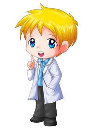 pic of chibi  - Cute cartoon illustration of a doctor isolated on white - JPG
