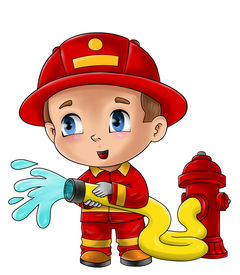 image of chibi  - Cute cartoon illustration of a fireman isolated on white - JPG