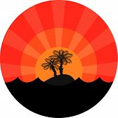 Island with two palm-trees at sunset background