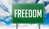 Freedom on Green Highway Signpost.