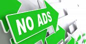 stock photo of no spamming  - No Ads on Direction Sign  - JPG