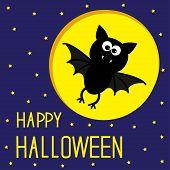 Flying Bat. Starry Sky And Moon. Happy Halloween Card.