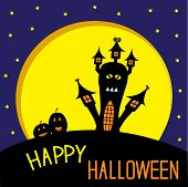 Haunted House, Pumpkins And Big Moon. Starry Night. Halloween Ca