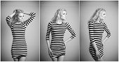 pic of tight dress  - Attractive sexy blonde in black and white tight fit dress posing provocatively indoor - JPG