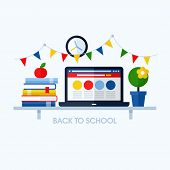 Back To School Flat Vector Illustration With Desk And School Supplies. Creative Design Elements