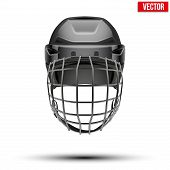 Classic black Goalkeeper Hockey Helmet isolated on Background. Vector.
