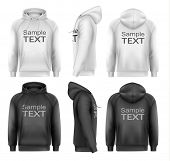 Set of black and white male hoodies with sample text space. Vector.