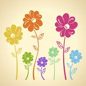 Color flowers pattern. Vector background. Green yellow blue red set