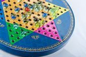 stock photo of chinese checkers  - top view of a Chinese checker game - JPG