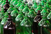 Rows of green bottles