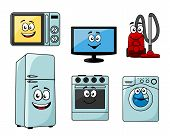 Cartoon household appliances set