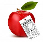 An apple with a nutrition facts label.