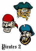 pic of buccaneer  - Cartoon brutal pirate captains set with mustaches - JPG