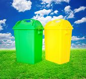 Green And Yellow Plastic Trash Recycling Container Ecology Conce