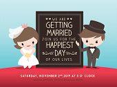 Wedding Invitation Board With Groom And Bride Cartoon