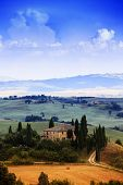 Tuscany, Italy - San Quirico d'Orcia (filtered image)