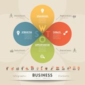 pic of swot analysis  - SWOT Analysis Business Strategy Diagram info graphic design - JPG