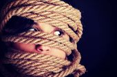 pic of kidnapped  - Tied up scared woman face - JPG