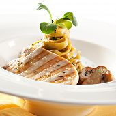 Tagliatelle with Mushroom, Chicken Fillet and Cream Sauce