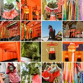 Collection of Fushimi Inari Taisha Shrine scenics, fox statue, thousands of torii, paper cranes of t