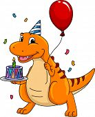 Mascot Illustration Featuring a Dinosaur Carrying a Birthday Cake