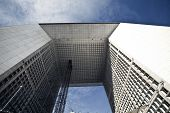 Wide Angle Photo Of La Grande Arche In La Defense In Paris - Looking Up