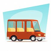 Retro Cartoon Car Family Travel Van Icon Modern Design Stylish Background Vector Illustration