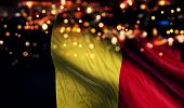 Belgium National Flag Light Night Bokeh Abstract Background