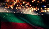Bulgaria National Flag Light Night Bokeh Abstract Background