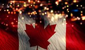 Canada National Flag Light Night Bokeh Abstract Background