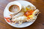 delicious grill spit river prawn
