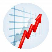Upward trending arrow on a business graph