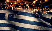 Greece National Flag Light Night Bokeh Abstract Background