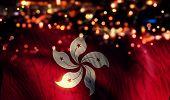 Hongkong National Flag Light Night Bokeh Abstract Background