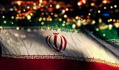 Iran National Flag Light Night Bokeh Abstract Background