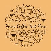 image of takeaway  - Round brown coffee time emblem made up of coffee icons with a coffee pot  cappuccino  espresso  steaming mugs and cup  iced coffee or milkshake   coffee beans and hearts with central text copyspace - JPG