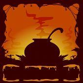 Halloween Background With Cauldron