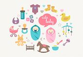Cute greetings card with icons of babies and toys in flat design style.
