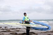 Windsurfer Getting Ready To Surf