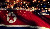 North Korea National Flag Light Night Bokeh Abstract Background