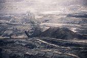 stock photo of dredge  - a working coal mine huge dredges conveyor belt - JPG