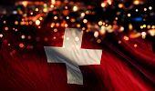 Switzerland National Flag Light Night Bokeh Abstract Background