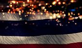 Thailand National Flag Light Night Bokeh Abstract Background