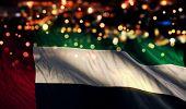 United Arab Emirates National Flag Light Night Bokeh Abstract Background