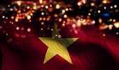 Vietnam National Flag Light Night Bokeh Abstract Background
