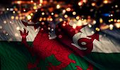 Wales National Flag Light Night Bokeh Abstract Background