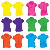 Women's Polo Shirt Template In Many Color