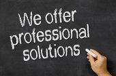 Blackboard with the text We offer professional solutions