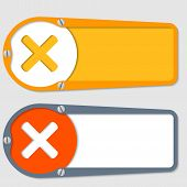 Set Of Two Boxes For Any Text With Multiplication Symbol