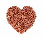Heart shape of peanuts.